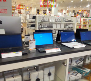 Laptops in a store